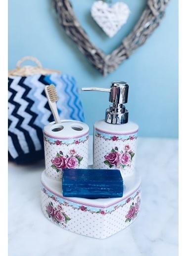 Arma House Güllü Porselen Banyo Seti Renkli